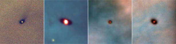 These visible-light images show disks of gas and dust (dark rings) around four infant stars (central bright regions) in the Orion Nebula, a star-forming molecular cloud about 400 parsecs away from Earth. The dust in the disks, which are surrounded by hot gas from the nebula, makes them look dark at visible wavelengths. Magnetic fields threading these disks, now observed directly by Stephens et al.(1) in the disk of the young star HL Tau, are probably the main element causing much of the observed disk material to accrete onto the stars. Each square region shown is about 260 billion kilometres across.