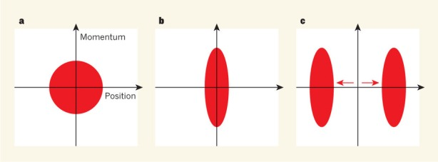 Every object's momentum and position are subject to fluctuations, which become pronounced on the atomic scale. a, The red circle indicates the uncertainty in position and momentum for a calcium ion (Ca+) in its motional ground state. b, Lo et al.(2) used laser pulses to squeeze fluctuations in position, at the cost of amplifying the fluctuations in momentum. c, They then displaced the ion in opposite directions at once, so that it would be equally likely to be found in one of two distinct states. The squeezing operation provides a better signal-to-noise ratio for the ion's position, so that it is easier to distinguish between the states.